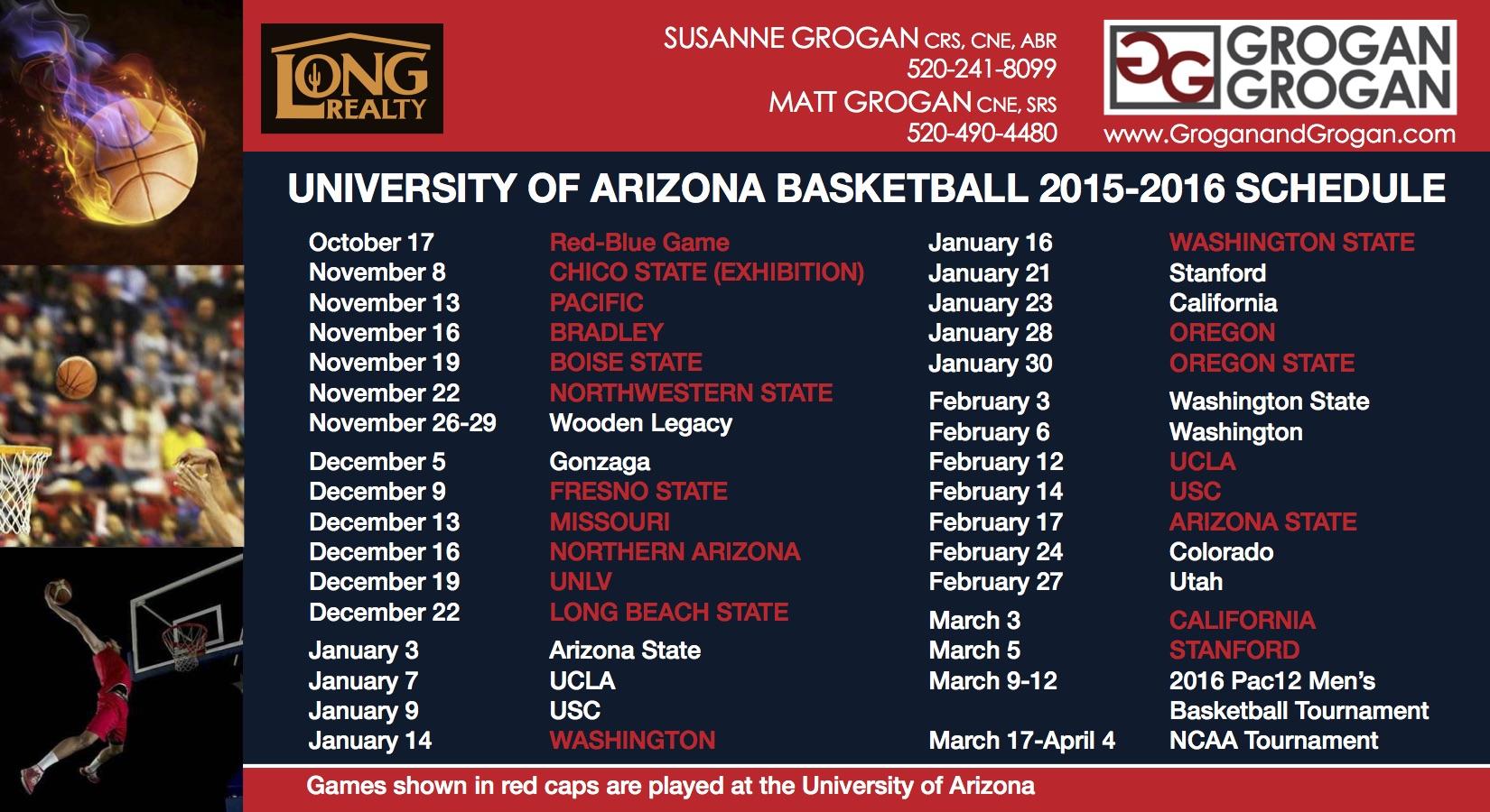 U of A Basketball Schedule