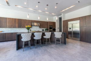 Reflective surfaces in kitchen