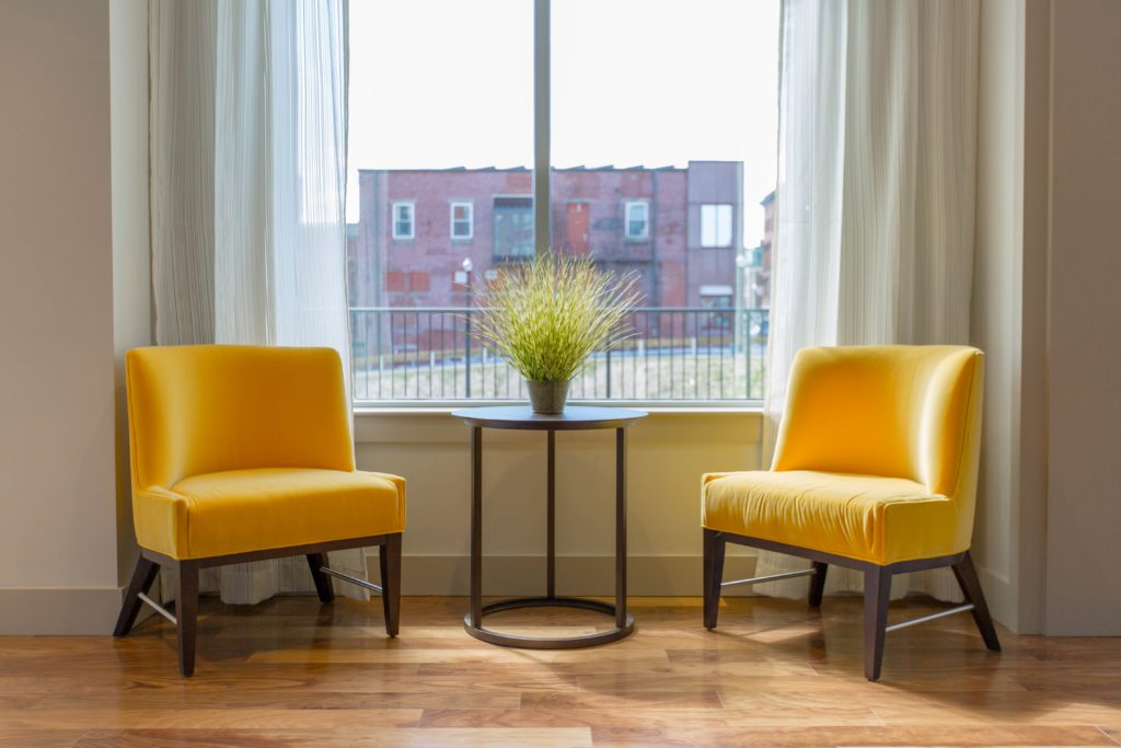 yellow chairs interior design